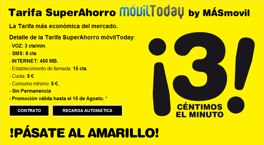 Tarifa SuperAhorro MóvilToday by Másmovil