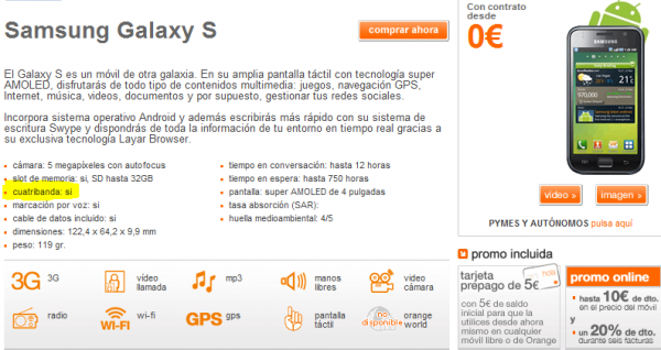 Samsung Galaxy S Cuatribanda Orange 600x318