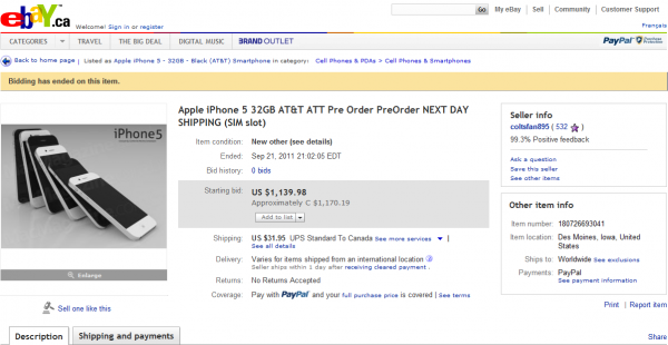 iPhone 5 Ebay.ca  600x310