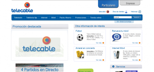 Pgina web Telecable 600x282