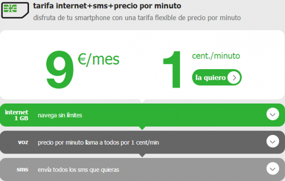Amena tarifa 9 céntimos SMS ilimitados 1 GB internet