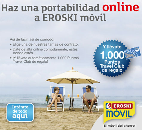 Eroski Móvil 1000 puntos travel club