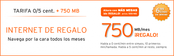 Tarifa 5 cent 750 mb