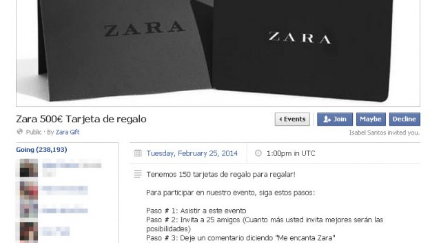 ZARA CHEQUE REGALO 500 ESTAFA